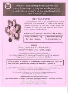 Taller para Padres 22 y 27 de Octubre 2015