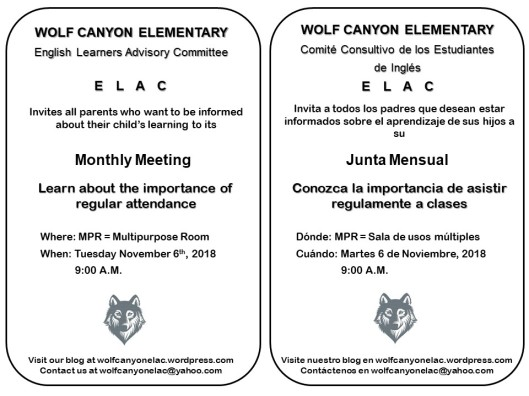 ELAC Meeting Invitation Nov 6 2018